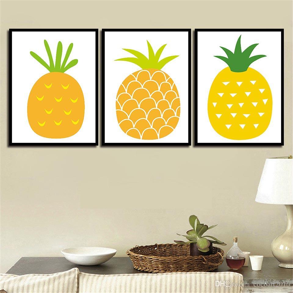 2018 Nordic Style Cartoon Pineapple Poster Simple Canvas Art Print ...