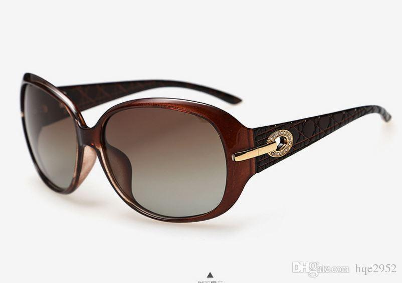 6214 Mujeres de lujo con gafas de sol polarizadas Gafas retro Gafas de gran tamaño Gafas grabadas en el templo de Niza para fiesta de moda