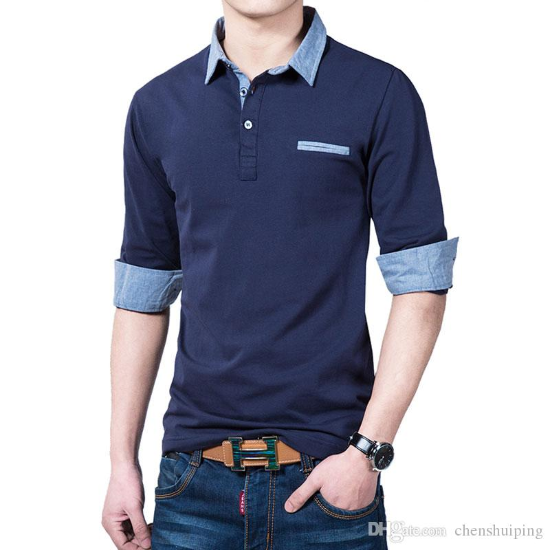 New Fashion Autumn Polo Shirt For Men Casual Slim Fit long sleeve Jean Tees & Polos Stylish T-shirts