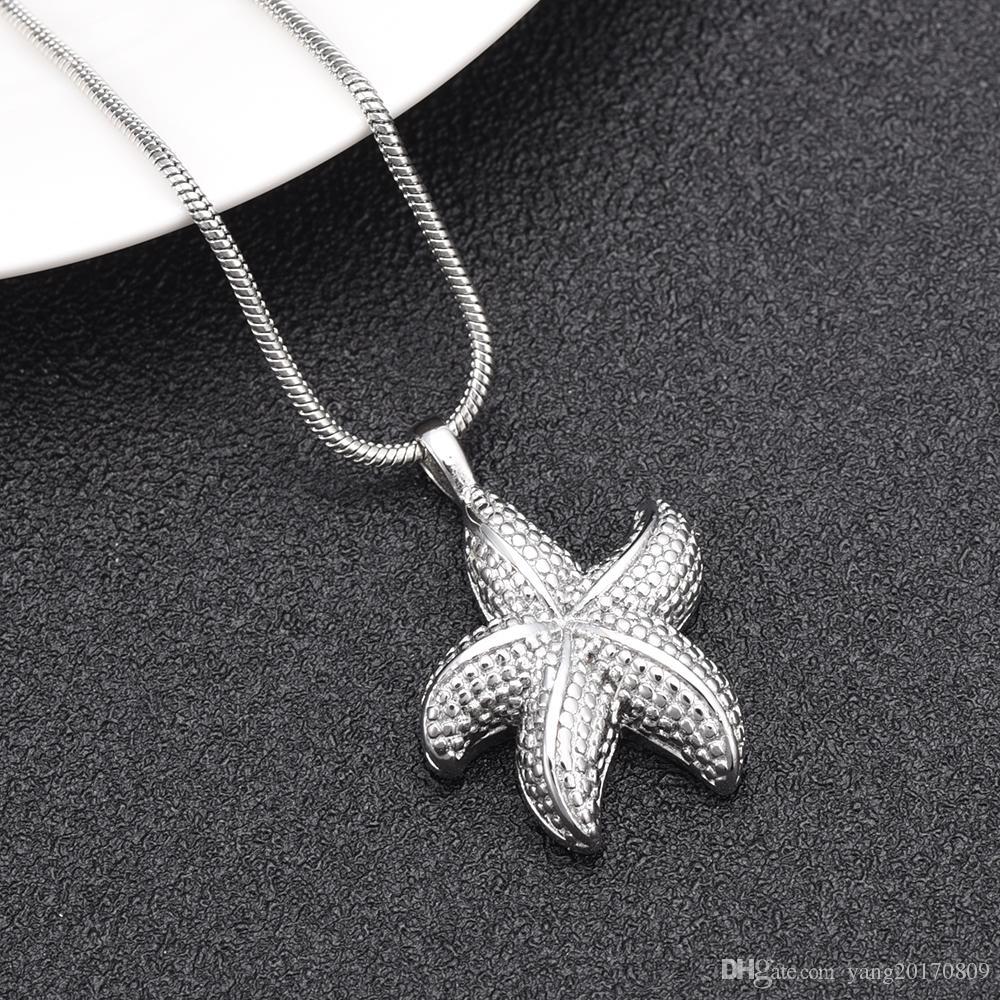 IJD10039 New Star Fish Cremation Jewelry Pendant Keepsake Memorial Urn Necklace-Sea Starfish Collection Cremation Urn Jewelry for Human / Pet