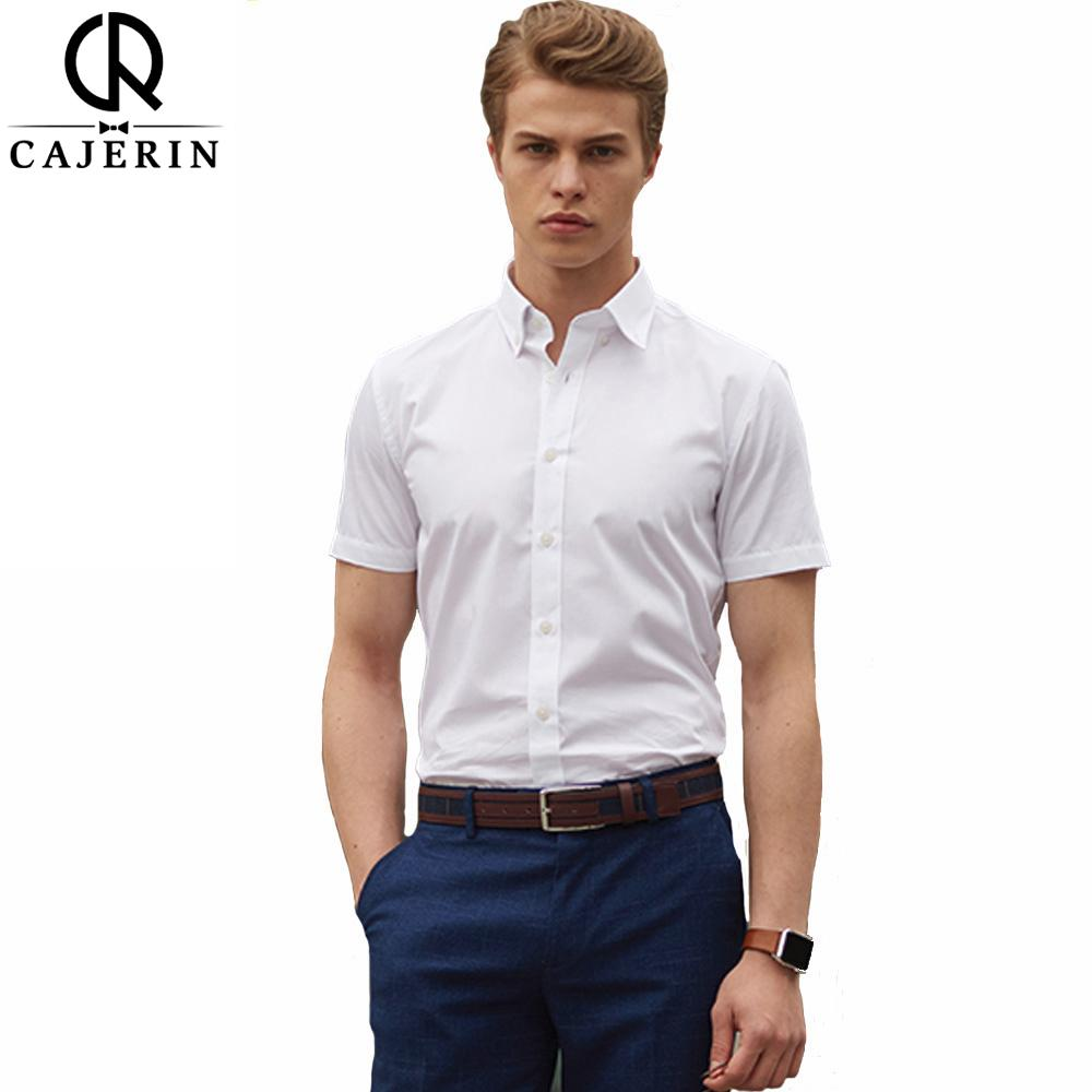 2019 Cajerin Cotton Men Shirt Male Dress Shirts Fashion Short Sleeve