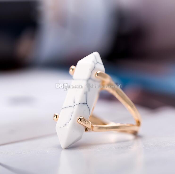 Пуля форма шестиугольная Призма кольца натуральный камень кристалл кварца исцеление точка чакра камень очарование позолоченные кольца для женщин