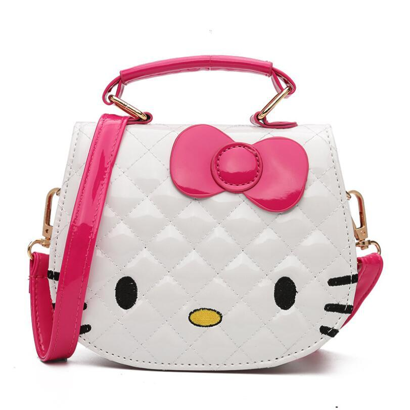 123ae04e84cf 2019 Cartoon Hello Kitty Bowknot Girls Handbag Kids Tote Toys Girls Bag PU  Leather Plush Backpack Best Gifts For Girl Adult From Deve