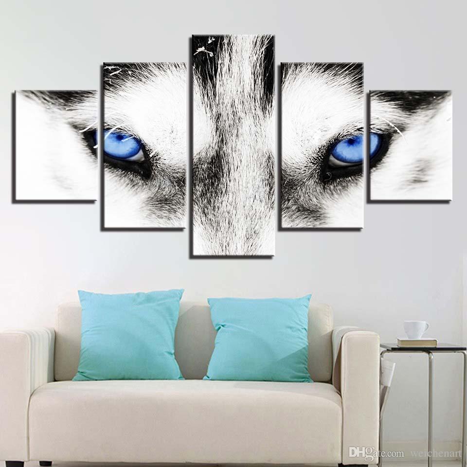 Canvas HD Prints Dipinti Home Decor Framework 5 pezzi Wolf Blue Eyes Poster Immagini animali modulari soggiorno Wall Art