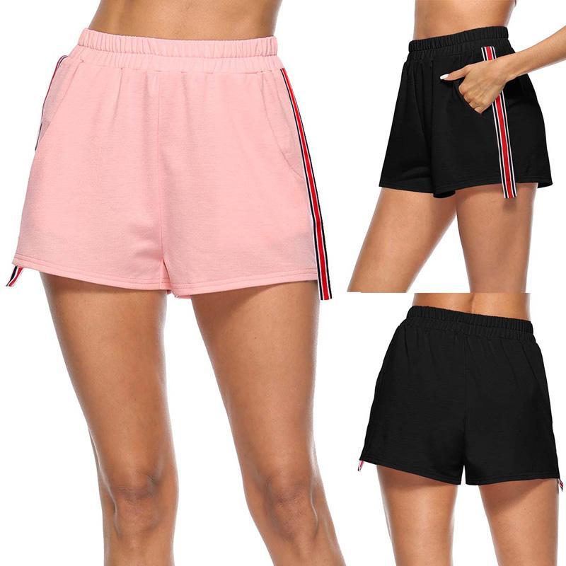30d495d1fb253e 2018 D'été De Mode Femmes Rayé Patchwork Shorts Taille Haute Femme Casual  Bas Élastique Taille Taille Court Feminino Pantalon