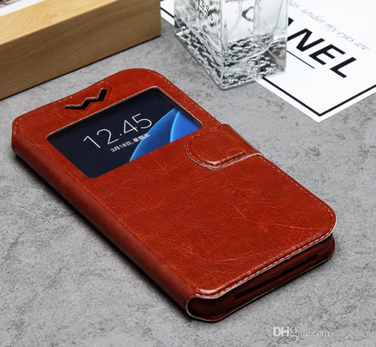 For Samsung S3 S4 S5 S6 S7 IPhone 4.7 5.5inch Plus Open Window Leather Universal Wallet Cases kickstand Flip Cover with Retail Package