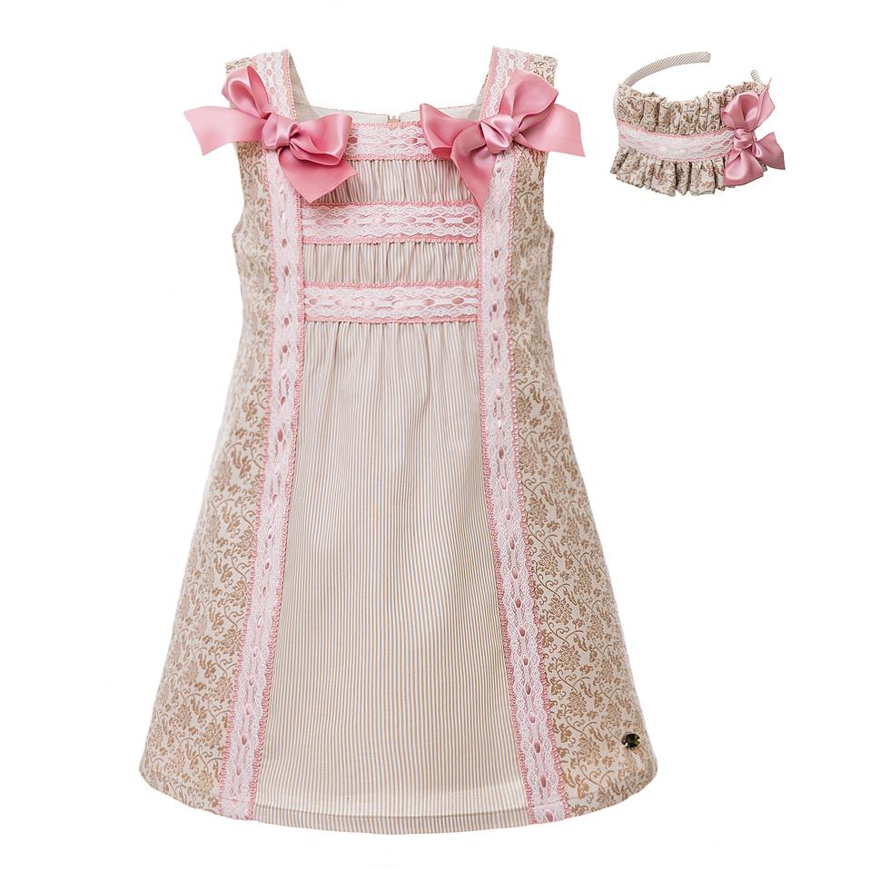6adf47df2 Pettigirl Pink Flower Print Girl Dress With Pink Bow A-line Kids ...