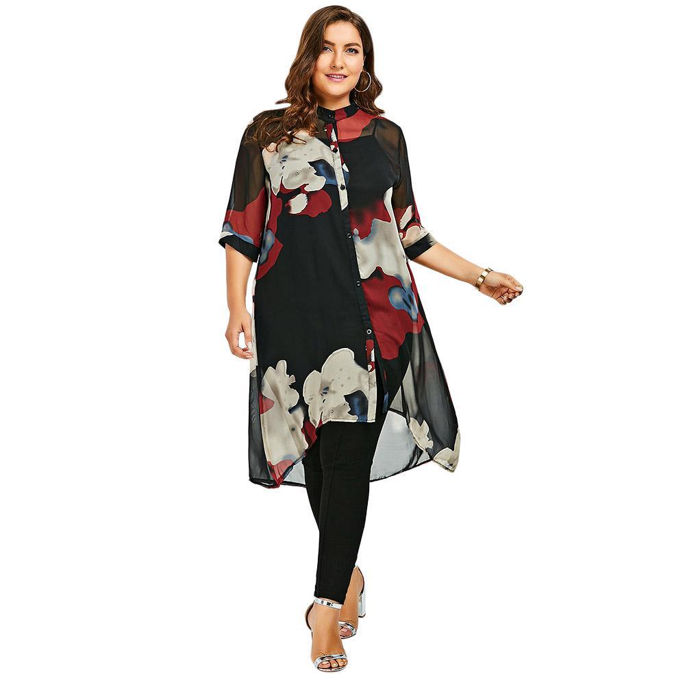 3656dd51fa5bd9 Long Flowy Shirts Plus Size | Toffee Art