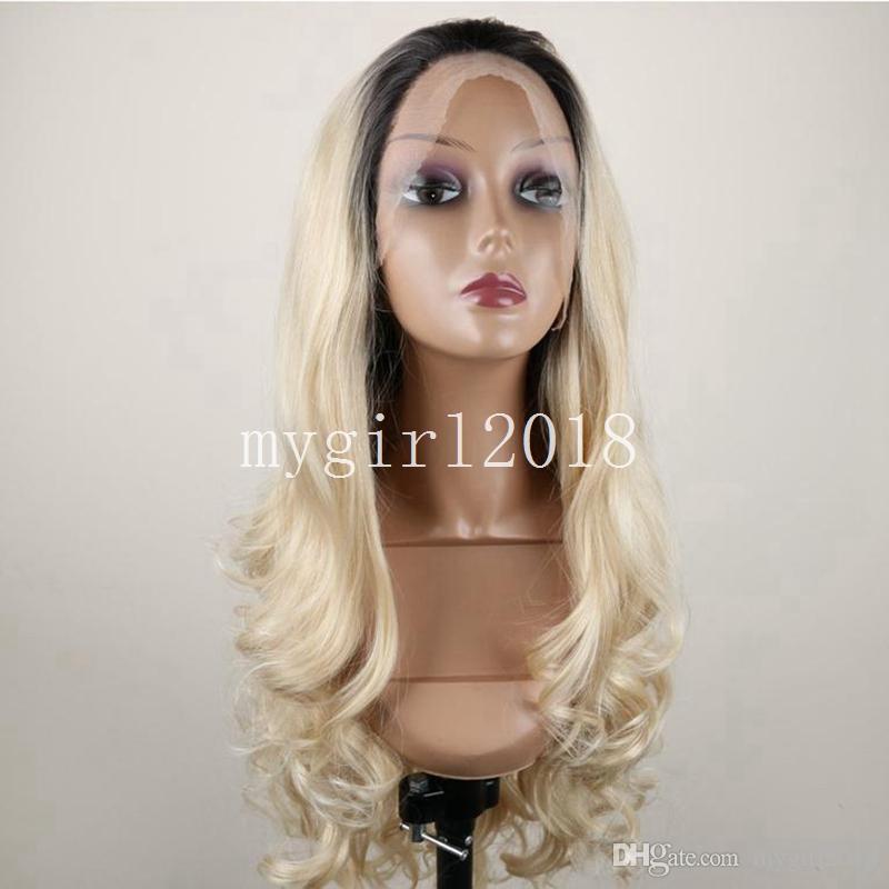 Lange synthetische Lace Front Perücken für Frauen Hitzebeständige Afroamerikaner Dark Roots Black Ombre Lange gewellte Perücke Frisuren
