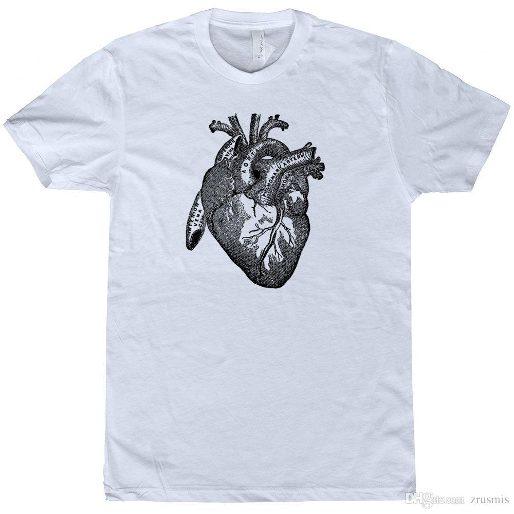 newest 2017 heart t shirt medical heart diagram tee vintage science