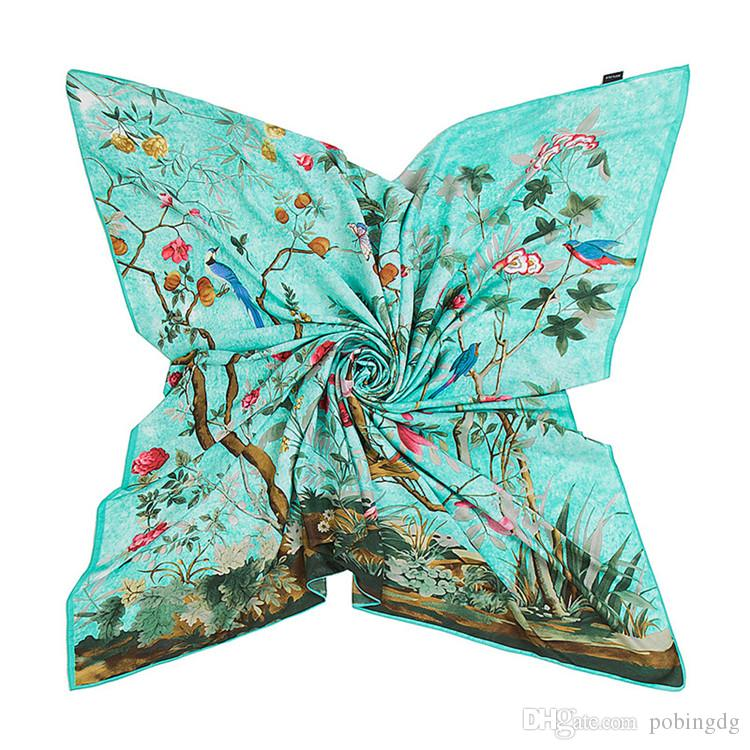 New Hot-selling Print Twill Silk Scarf For Women Headband Female Large Square Scarves Fashion Shawls Wraps Wholesales 130cm*130cm