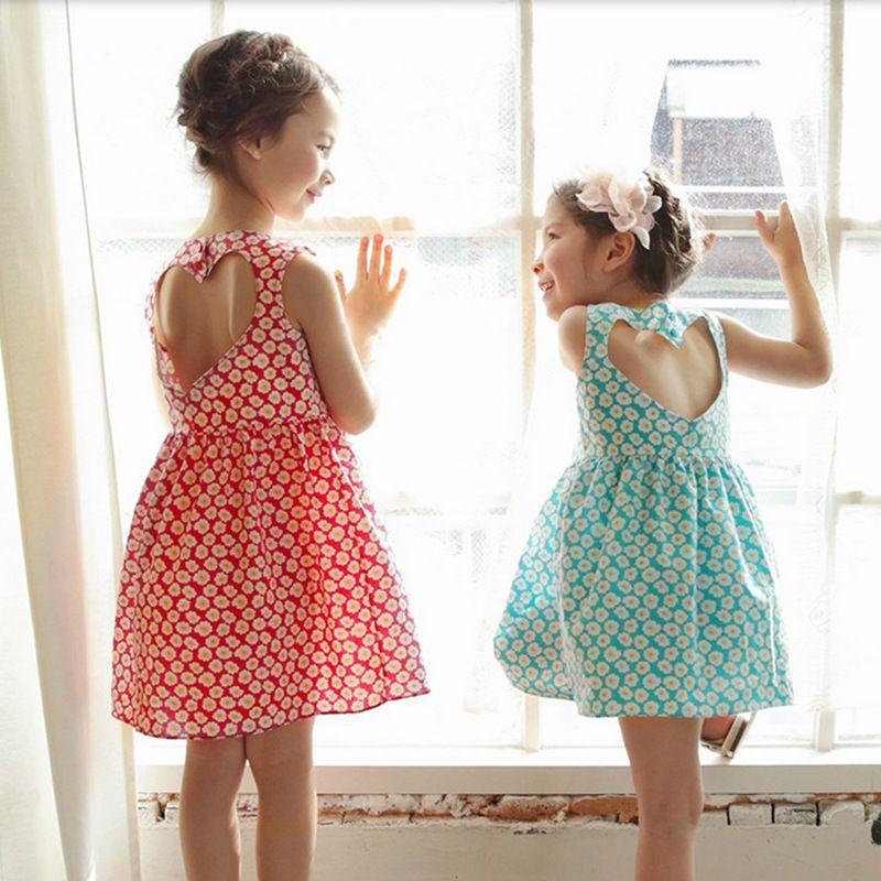 21ee531339cc Girls Backless Dress Printed Floral Heart Design Sleeveless O-neck Cool  Breathable Summer Dresses Cotton Skirt Vest Dress 3-8T Girls Vest Dress  Vest Skirt ...
