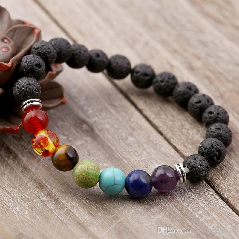 Natürliche Lavastein Yoga-Armband 7 Chakra schwarzen vulkanischen Stein Armbänder Healing Gleichgewicht Armband Reiki Buddha Gebet Perlenarmband