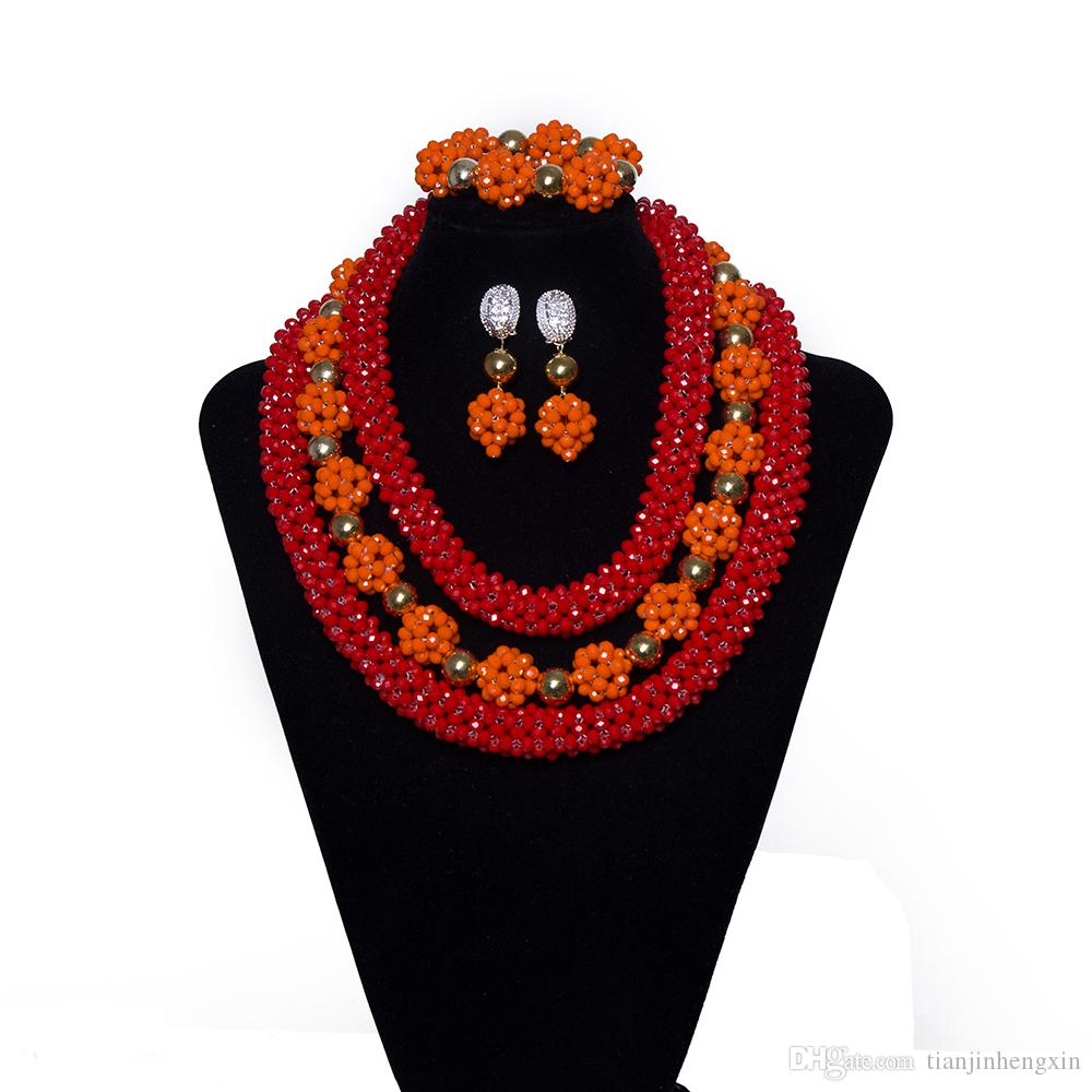 ddd3d4155f9a2 2018 Red And Orange Bridal Jewelry Sets African High Quality Handmade  Necklace Nigerian Fashion Wedding Clothing Jewelry Set Free Shipping