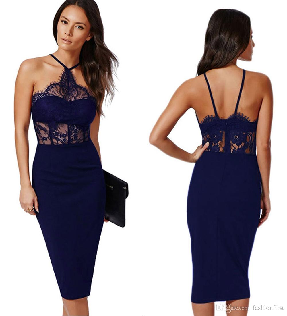 European American New Autumn Wear Hollow Out Lace Bodycon Dress Halter Neck  Lace Sexy Night Dress For Honeymoon Black Womens Dresses Party And Cocktail  ... aa673d4aa