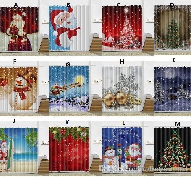 2018 Snowman Shower Curtain Merry Christmas Tree Sleepy Snowman