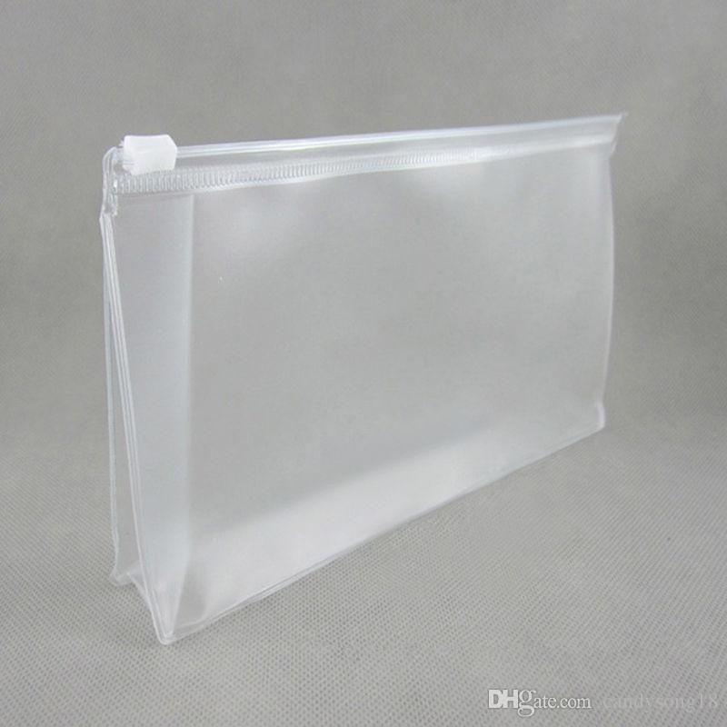 Half Clear+ Frosted Clothes Zip Lock Packaging For Underwear&Cosmetics Plastic PVC Bag Storage fast shipping F878
