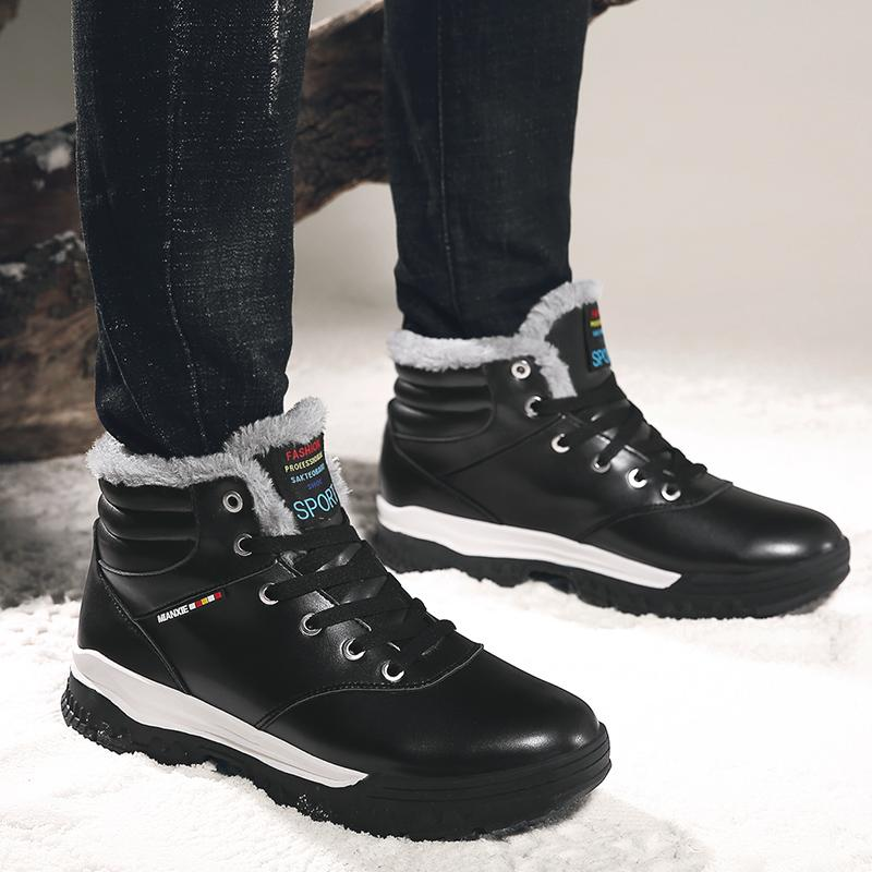 66ee2ed35d4 Best Cheap Men Winter Leather Snow Boots Outdoor Hiking Travel Ankle Boots  Warm Shoes With Plush Inside Discount Prices Brown Black Blue Canada 2019  From ...