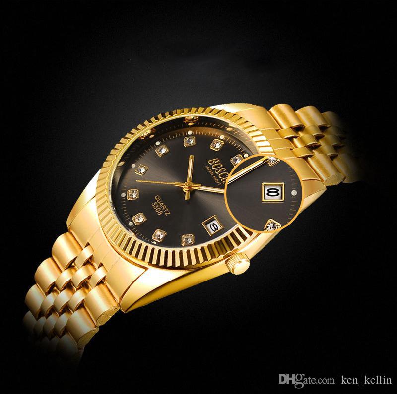 Klassisches Paar Edelstahl Doppelkalender Nachtlicht wasserdicht Uhr männlich Quarz neue Uhr nicht - mechanisch
