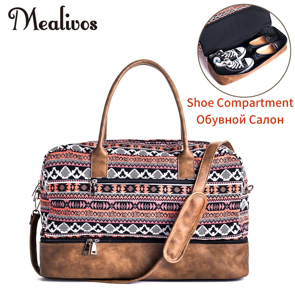 24af9456de31 Mealivos 2017 Fashion Canvas Large Weekender Women Bag Overnight Travel Bag  Carry On Duffel With Shoe Pouch Duffel Bags Gym Bags Bags Online From ...