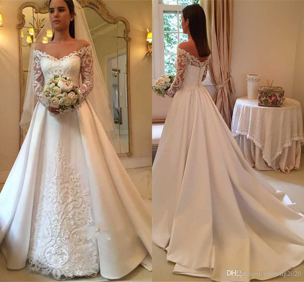 65d20badd0 Discount 2018 Elegant White A Line Wedding Dresses Off Shoulder Long Sleeve  Lace Appliques Sexy Back Button Bridal Dresses Charming Wedding Gowns Ivory  ...