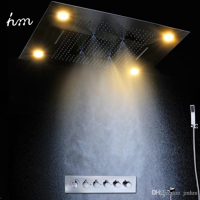 2020 Luxurious Bathroom LED Rainfall Waterfall SUS304 Shower Head Set Ceiling Mounted Electricity Power with 5 Ways Thermostatic Mixer