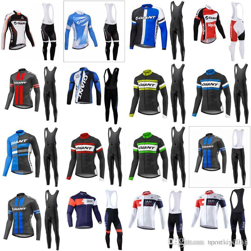 2018 Spring Autumn Pro Team GIANT IAM Cycling Long Sleeve Jersey Bicycle  Sport Clothing MTB Bike Bib Long Pants Set 4112 GIANT IAM Cycling Jersey  Long ... 293693499