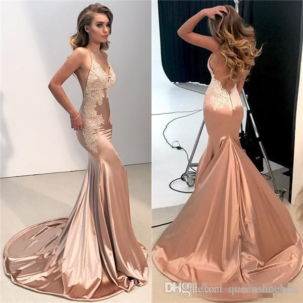 Sexy V Neck Backless Lace Prom Dress 2018