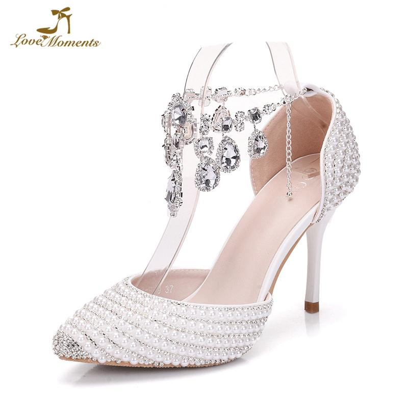 c1f6bec4516a White Pearl With Silver Stone Bride Shoes 9cm High Heels Pointed Toe  Wedding Dress Shoes Birthday Party Prom Pumps Ankle Straps Driving Shoes  Cheap Trainers ...