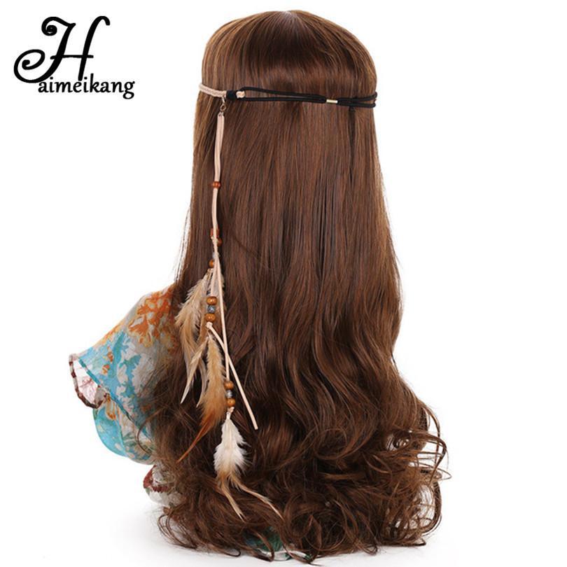 Großhandel Haimeikang Korean Samt Indische Feder Stirnband Feder ...