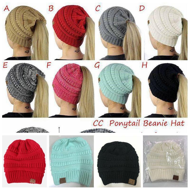 3c958a882a90b Women Cc Ponytail Caps Cc Knitted Beanie Fashion Girls Winter Warm Hat Back  Hole Pony Tail Autumn Casual Beanies Crochet Hats Baby Boy Hats Black  Baseball ...