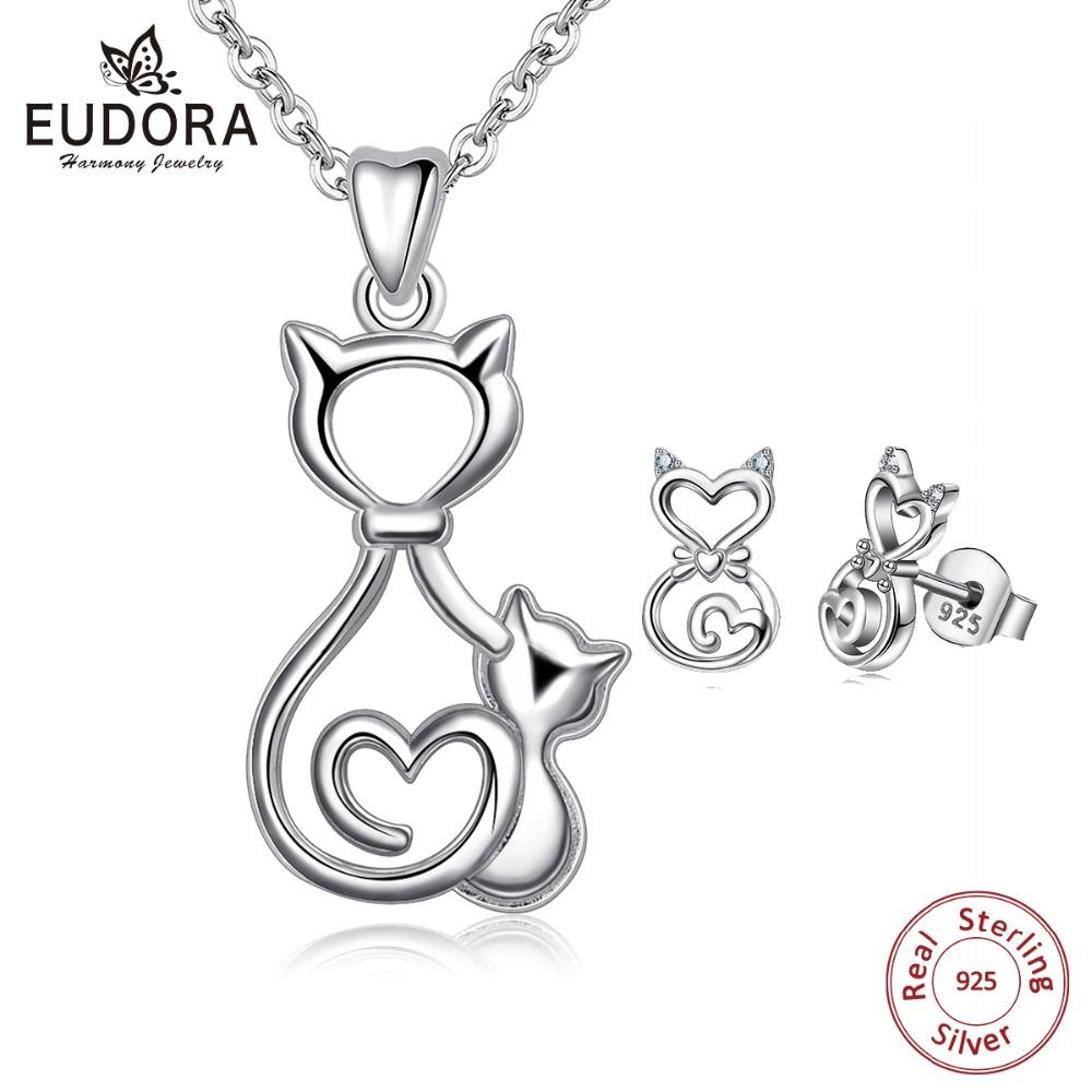 1b1e00541 2019 EUDORA 925 Sterling Silver Jewelry Set HelloKitty Two Cats Pendant  Necklace Stud Earrings Women Jewelry Christmas Gift E85D317 From Shanjumou,  ...