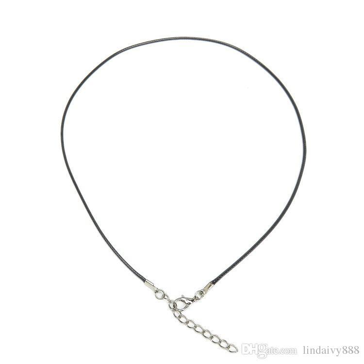 / 1.5mm Corde En Cire Noir En Cuir Corde Chaîne Collier 45cm + 5cm Chaîne Extender Chaîne Fermoir Le Homard pour DIY Bijoux Accessoires
