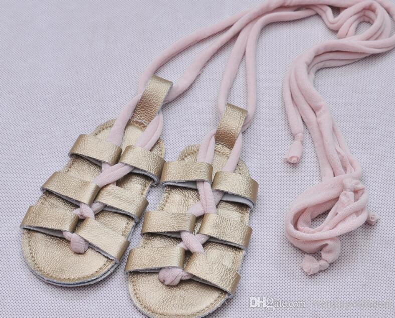 sandales bébé fille sandales plates avec des sandales de bébé en cuir véritable d'été chaussures sandales fille lacets fond doux