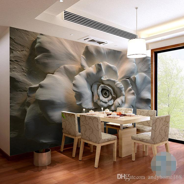 مخصص جدارية خلفية جدار اللوحة 3d الإغاثة روز زهرة خلفيات ل غرفة المعيشة أريكة التلفزيون خلفية جدار جدارية ديكور المنزل 3d