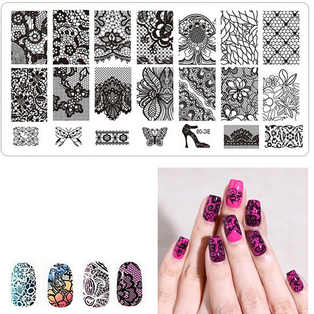 Nail Art Stamp Template Square Lace Nail Template Leaves Flower