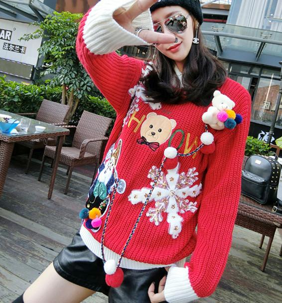 Funny Women Christmas Sweaters Knitted Bear Snow Flowers Sequins Sweater Girls Appliques Party Pullover Jumper Sweaters NS870