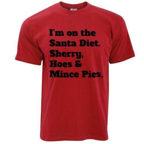 Santa Diat Sherry Hoes Mince Pies Geschenk Bedruckt Motto Spruch