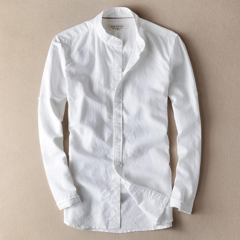 34c9217f86 2019 2018 New Spring Mens Casual Linen Shirts Slim Fit Long Sleeve Soft  Breathable Linen Shirt Stand Collar XXXL Males Trendy Clothes D18102301  From Shen06