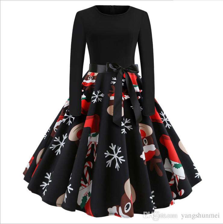 2e5effe221a12 Winter Christmas Dresses Women 50S 60S Vintage Robe Swing Pinup Elegant  Party Dress Long Sleeve Casual Plus Size Print Black Pink Dresses For Teens  ...