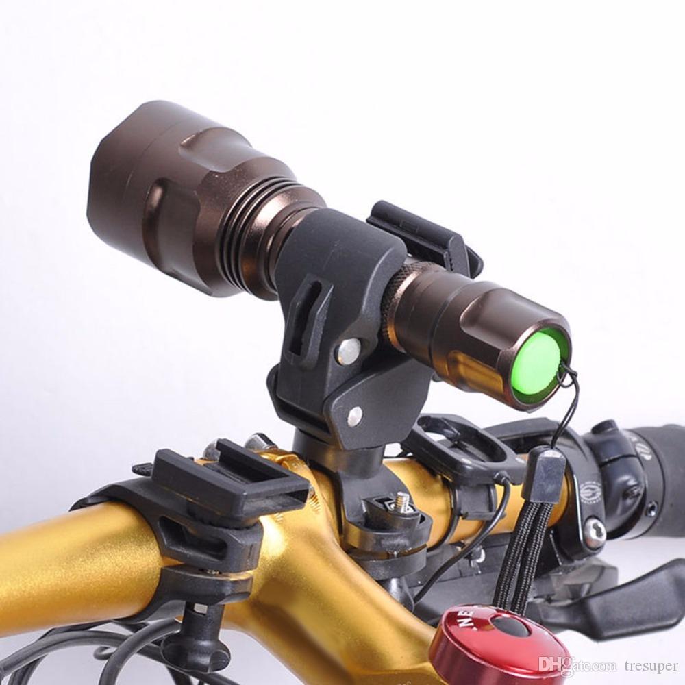 360 Bicicleta giratoria Bicicleta LED Linterna de montaje Soporte Flash Antorcha Titular Luz delantera Clip abrazadera Linterna Negro Accesorios de bicicleta