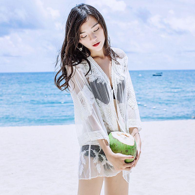 Women beach bikini cover ups lace embroidery long Cardigan swimwear loose blouses summer sunscreen swimsuit crochet hollow shirts beachwear