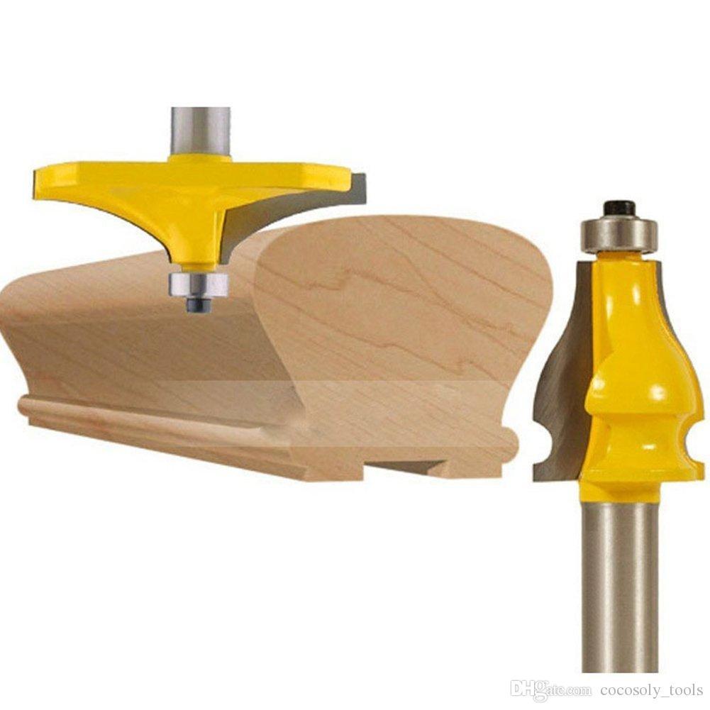 2 Bits Handrail Router Bit Set - Standard/Flute Molding Cutter - 1/2'' Shank