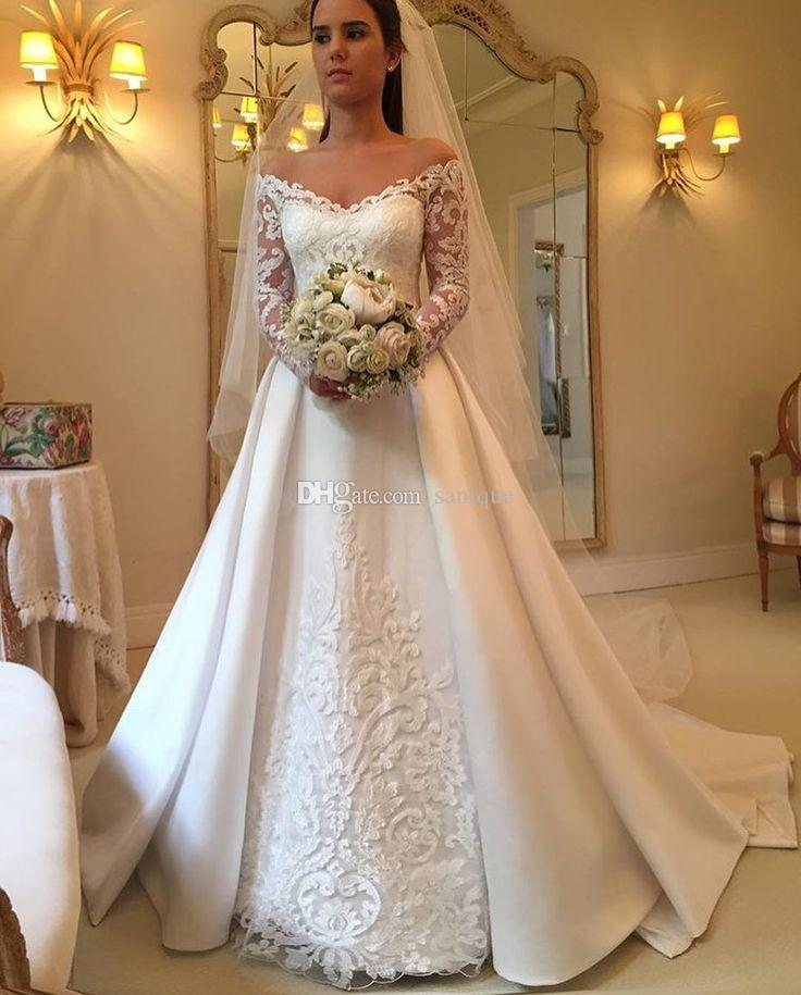 Elegant Wedding Gowns With Sleeves: Discount 2018 Elegant White A Line Wedding Dresses Off