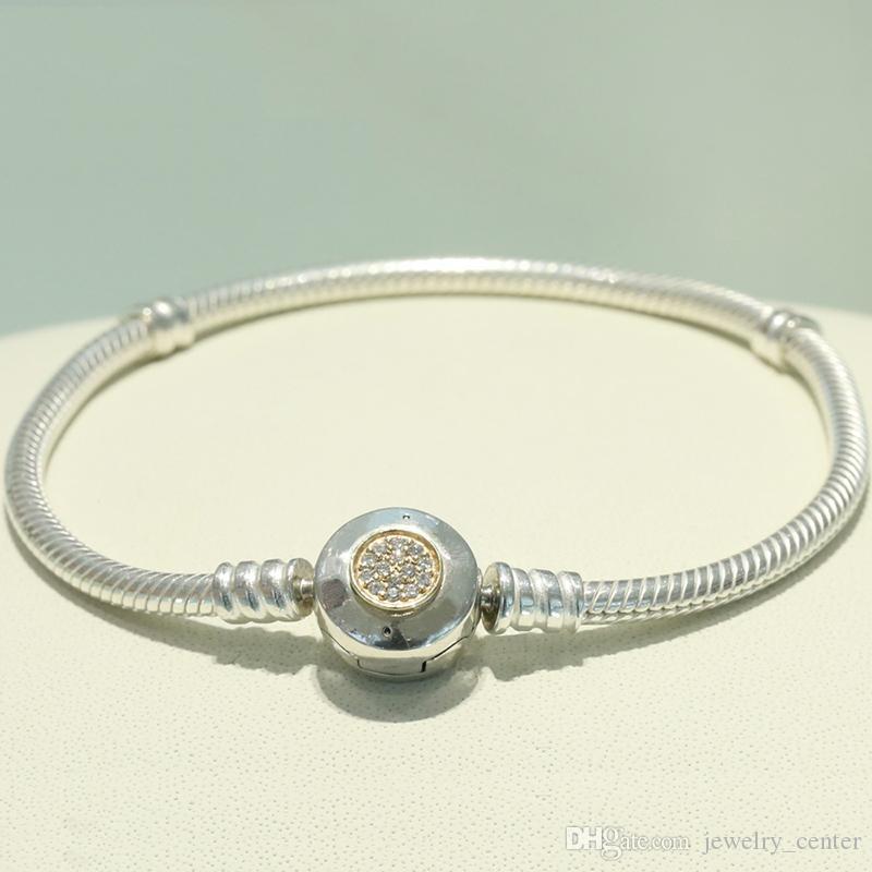 الكلاسيكية تصميم 925 فضة 3 ملليمتر ثعبان سلسلة سوار صالح باندورا سحر الخرز الفضة والمجوهرات diy صنع للرجال والنساء