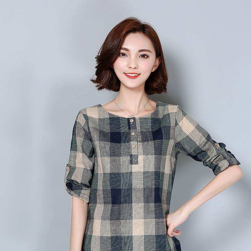 60e3a32bd8673 2019 2017 New Plaid Shirt Women Cotton Linen Blouse 2017 Autumn Long Sleeve  Checked Shirts Female Casual Tops Blusas Femininas 926F From Insightlook