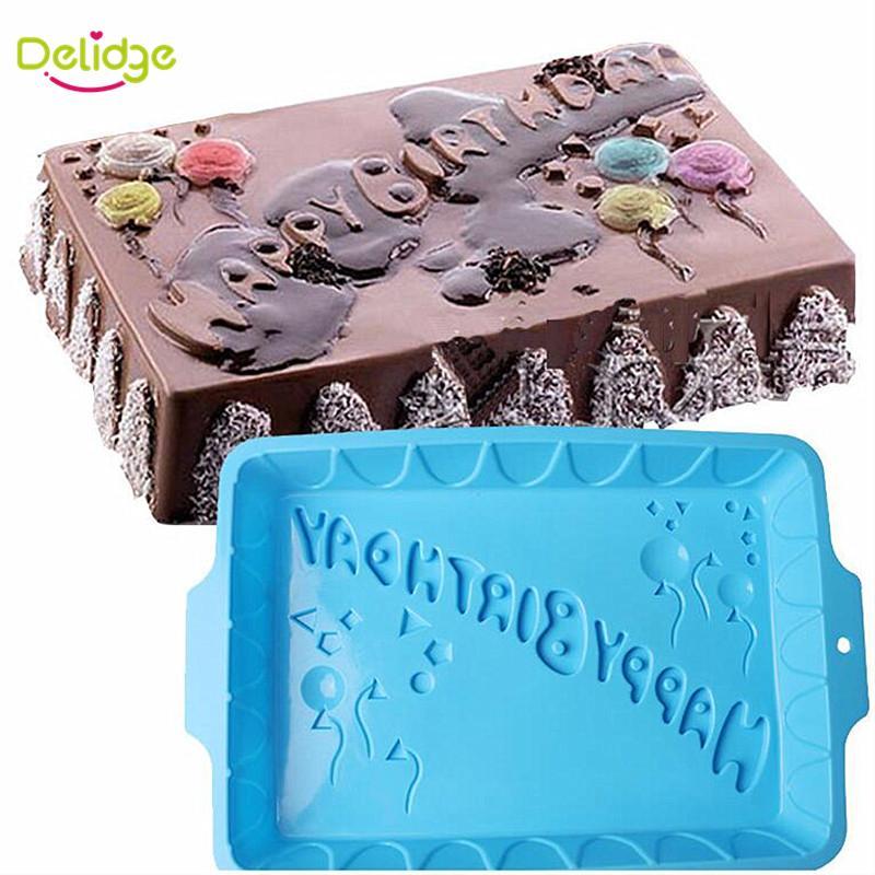 2019 Delidge Square Shape Happy Birthday Letter Cake Mold Silicone