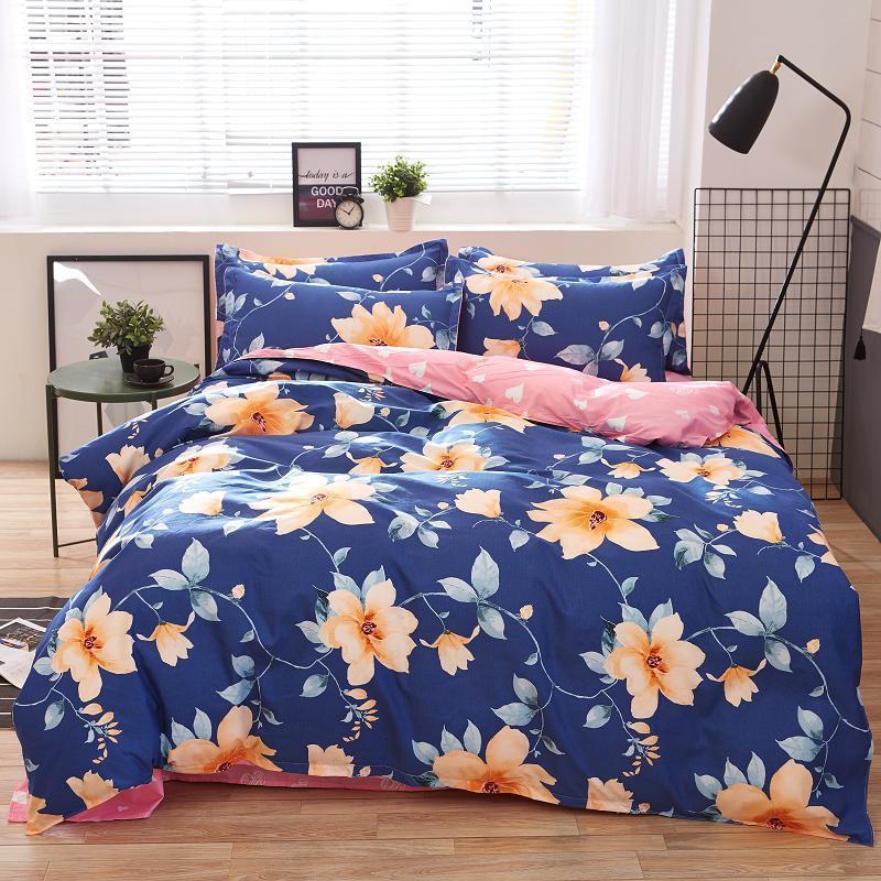 Home Textile Autumn Dark Color Flower Series Bed Linens Bedding Sets