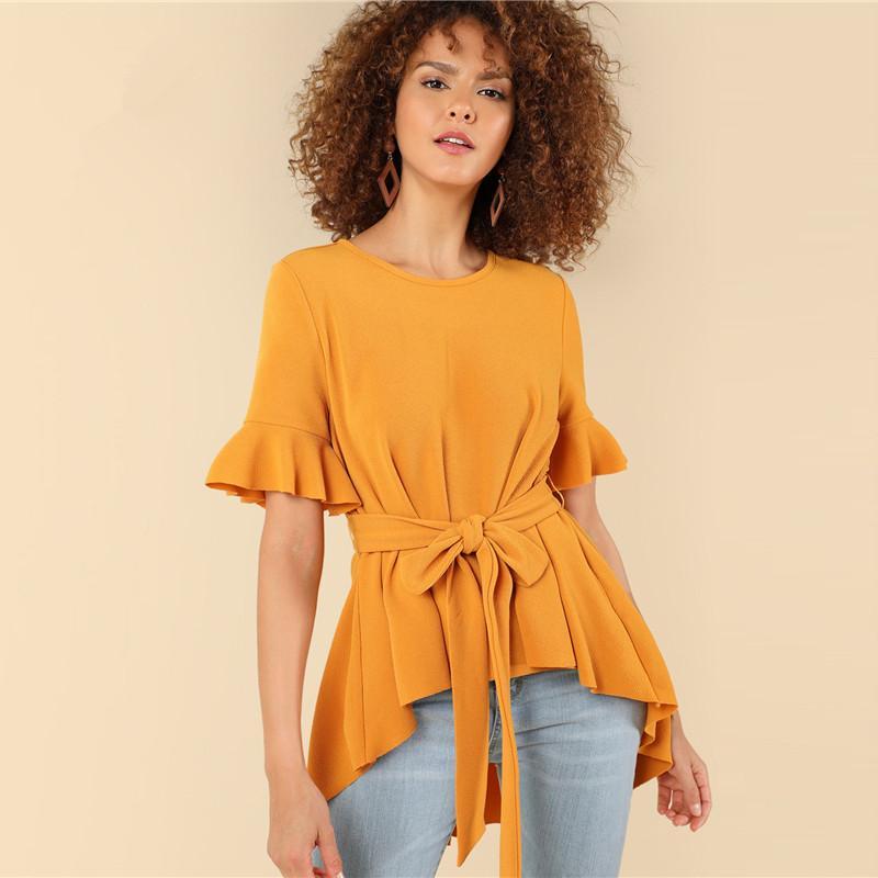 Yellow Ruffle Sleeve High Low Tee Office Ladies Workwear Belt