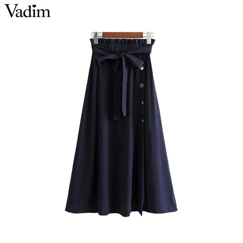 ab04f3627 2019 Vadim Women Bow Tie Paper Bag Waist Midi Skirt Pleated Elastic Buttons  Side Split Casual Navy Streetwear Skirts BA093 From Cailey, $23.26 |  DHgate.Com